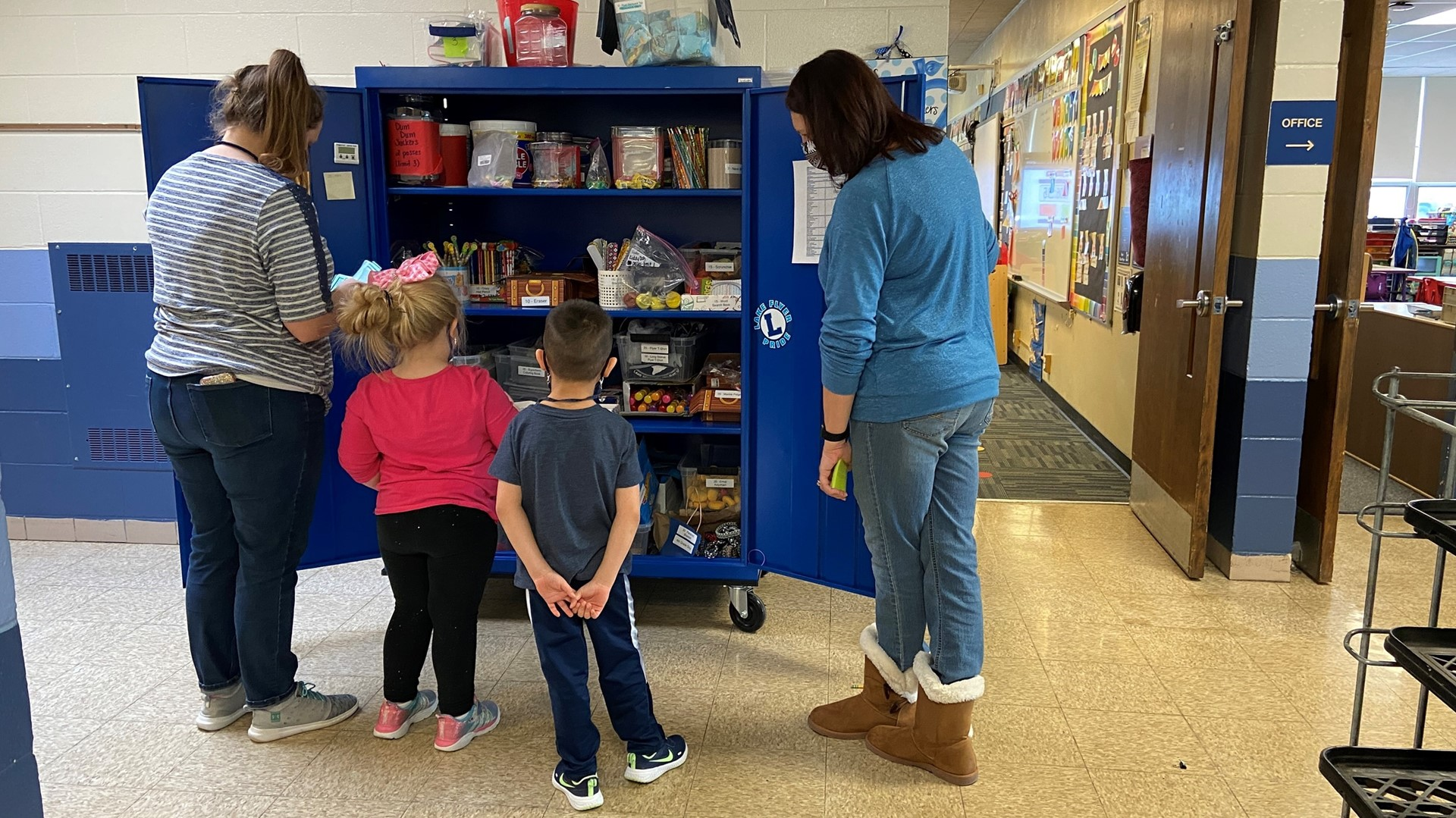 Students visiting the PBIS cart.