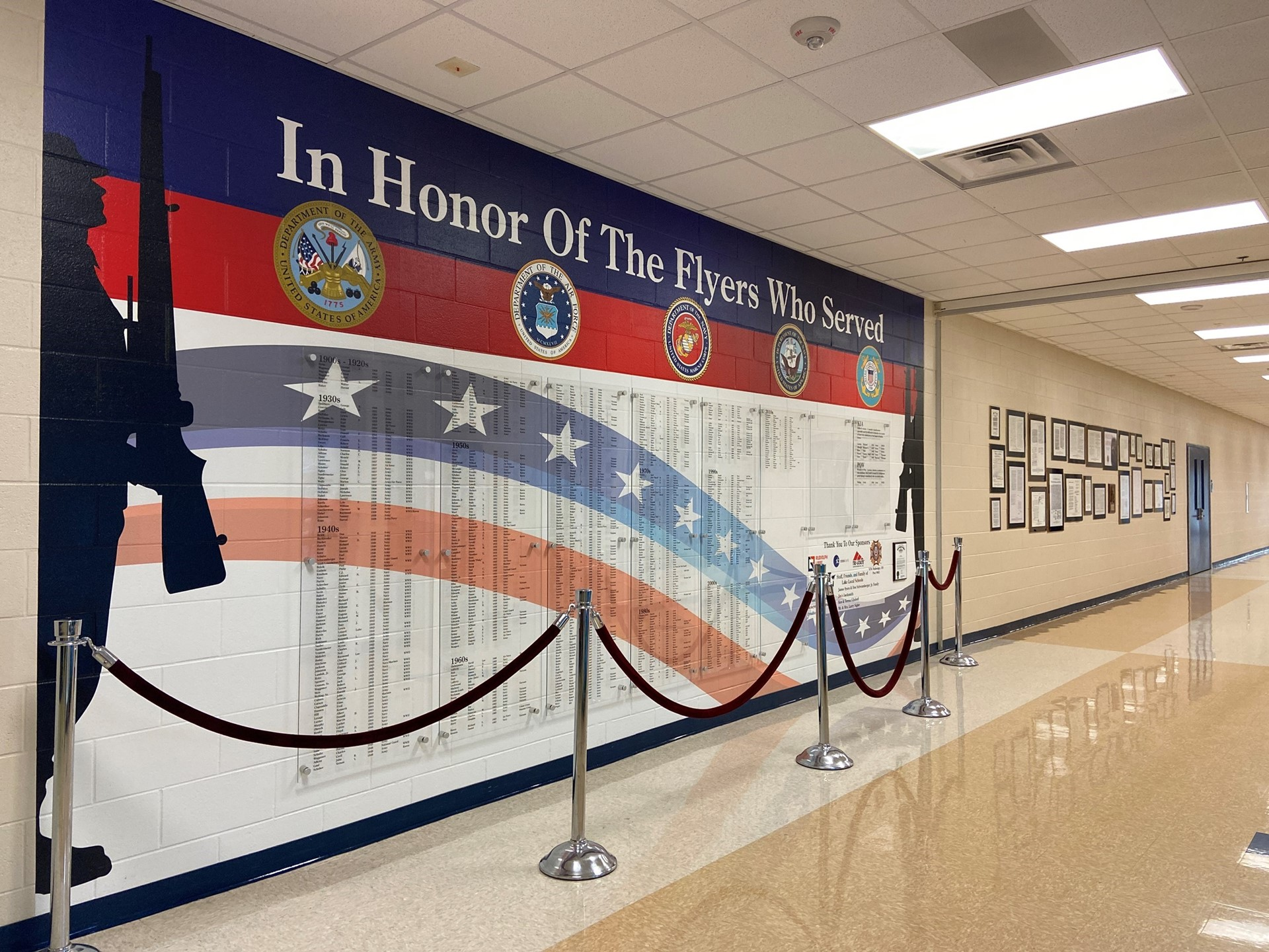 Veteran's wall at Lake High School In Honor of the Flyers Who Served