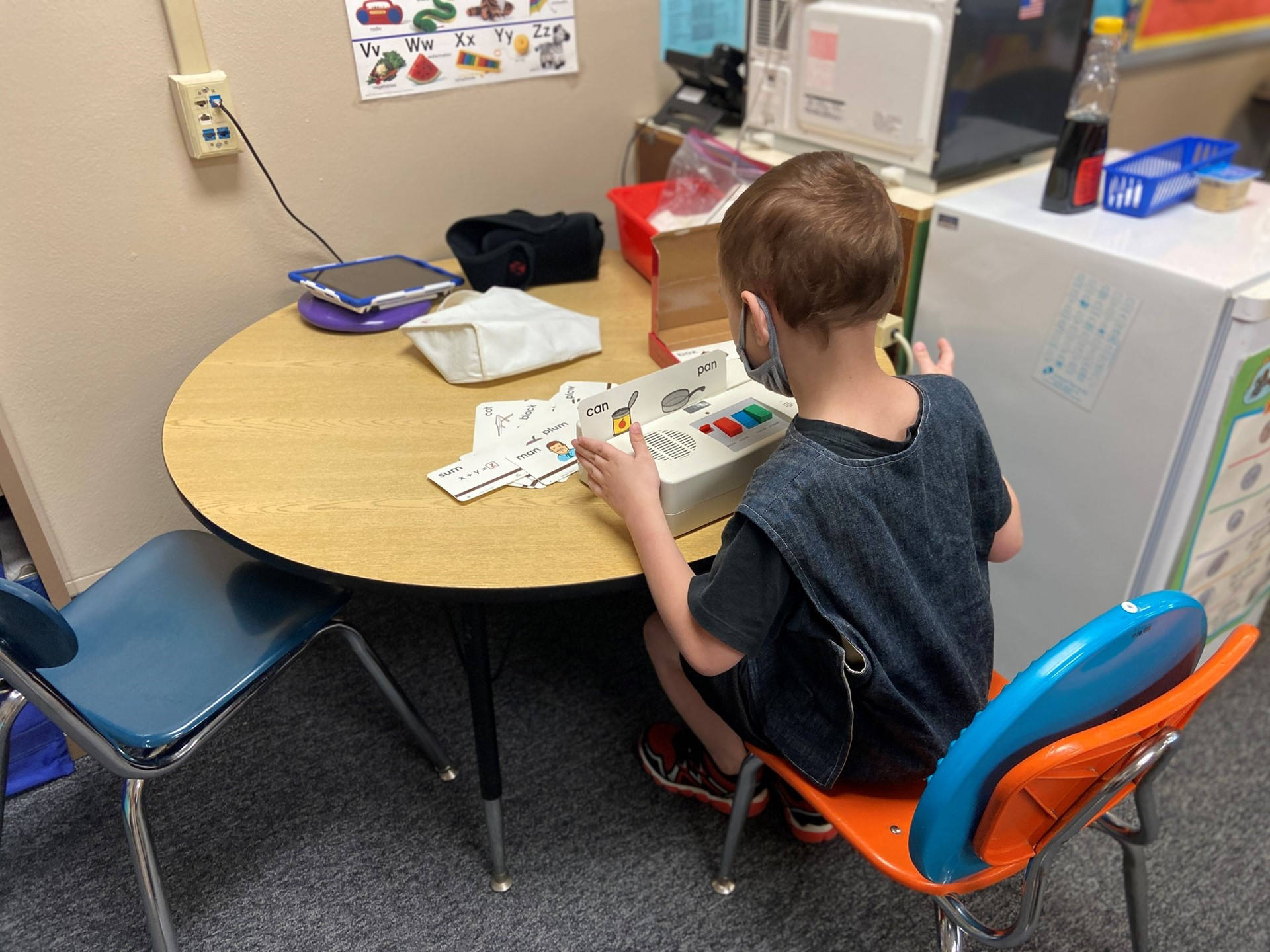 A student works on his site words.
